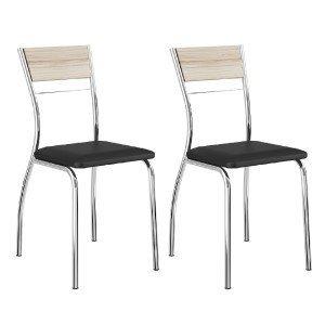 Conjunto 2 Cadeiras Tubular em Aço Ricci 1721 Carraro Anis/Preto/Cromado