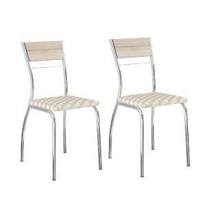 Conjunto 2 Cadeiras Tubular em Aço Ricci 1721 Carraro Anis/Retrô/Cromado