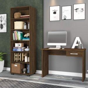 Conjunto para Escritório com Mesa e Estante para Livros Móveis Leão Teka