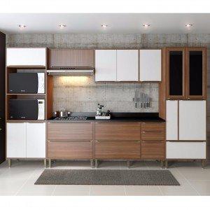 Cozinha Completa 7 Módulos 14 Portas Calábria Multimóveis Nogueira/Branco Texturizado