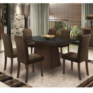 Conjunto Sala de Jantar Mesa Tampo MDF/Vidro Melissa 6 Cadeiras Paloma New Ceval Móveis Castanho/Preto/ST01