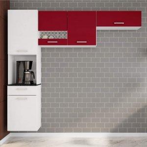 Cozinha Compacta Suspensa em L 5 Portas 1 Gaveta Ana Poliman Móveis Branco/Marsala
