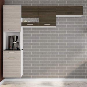 Cozinha Compacta Suspensa em L 5 Portas 1 Gaveta Ana Poliman Móveis Branco/Rovere/Amêndoa