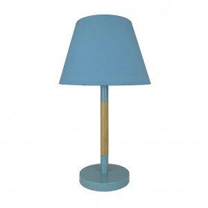 Abajur Grande com Haste Bicolor e Cúpula em Tecido Premier Iluminação Azul