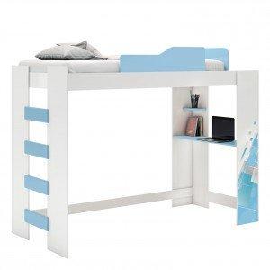 Cama Infantil Alta com Escrivaninha Smart Pura Magia Branco/Azul