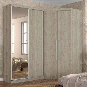 Guarda Roupa Casal com Espelho 4 Portas e LED Interno Alemanha Robel Cedro