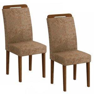 Conjunto 2 Cadeiras Athenas Rufato Ype/Suede Amassado Chocolate