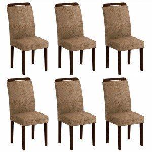 Conjunto 6 Cadeiras Athenas Rufato Castor/ Suede Amassado Chocolate