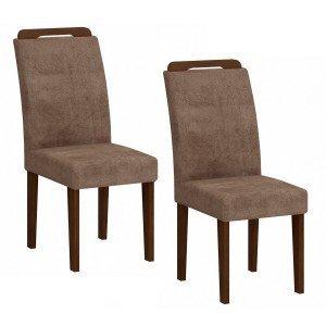 Conjunto 2 Cadeiras Athenas Rufato Castor/Animalle Chocolate