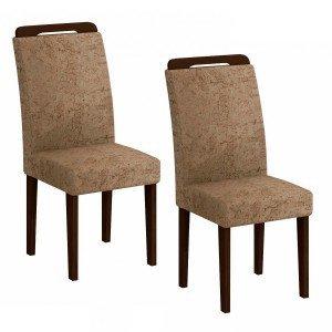 Conjunto 2 Cadeiras Athenas Rufato Castor/Suede Amassado Chocolate