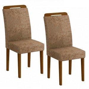 Conjunto 2 Cadeiras Athenas Rufato Imbuia/Suede Amassado Chocolate