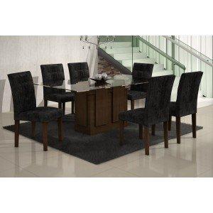 Conjunto Sala de Jantar Mesa Tampo Vidro 160cm Amsterdã 6 Cadeiras Paraty Rufato Castor/ Penna Preto