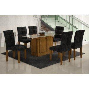Conjunto Sala de Jantar Mesa Tampo Vidro 160cm Amsterdã 6 Cadeiras Paraty Rufato Imbuia/ Penna Preto