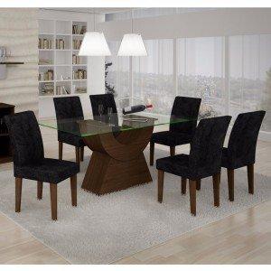Conjunto Sala de Jantar Mesa Tampo Vidro 160cm Malta 6 Cadeiras Grécia Rufato Castor/ Penna Preto