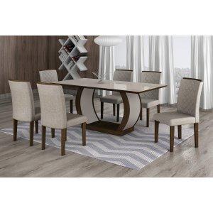 Conjunto Sala de Jantar Mesa Tampo MDF/Vidro 180cm 6 Cadeiras Luanda Rufato Castor/Turim