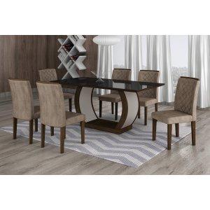 Conjunto Sala de Jantar Mesa Tampo MDF/Vidro 180cm 6 Cadeiras Luanda Rufato Castor/Preto/Animalle Chocolate