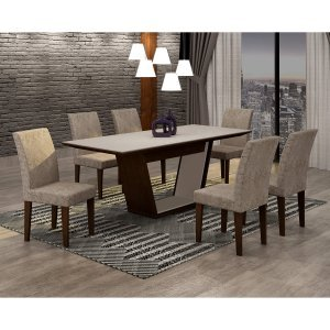 Conjunto Sala de Jantar Mesa Tampo MDF/Vidro 180cm e 6 Cadeiras Alice Rufato Castor/Off White/Suede Chocolate