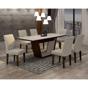 Conjunto Sala de Jantar Mesa Tampo MDF/Vidro 180cm e 6 Cadeiras Alice Rufato Castor/Off White/Turim 07