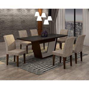 Conjunto Sala de Jantar Mesa Tampo MDF/Vidro 180cm e 6 Cadeiras Alice Rufato Castor/Preto/Suede Chocolate/Off White