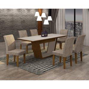 Conjunto Sala de Jantar Mesa Tampo MDF/Vidro 180cm e 6 Cadeiras Alice Rufato Imbuia/Off White/Suede Chocolate