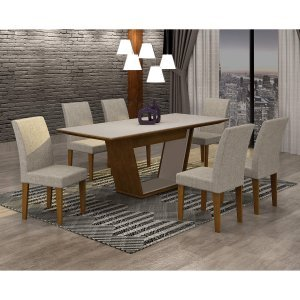 Conjunto Sala de Jantar Mesa Tampo MDF/Vidro 180cm e 6 Cadeiras Alice Rufato Imbuia/Off White/Turim 07