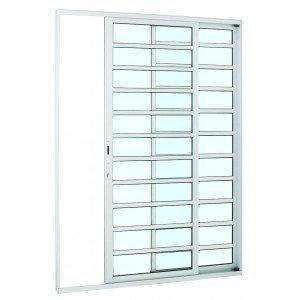 Porta de Correr Alumínio Alumifort Sasazaki com Divisão Horizontal 2 Folhas 216cmx160cmx8,7cm Branco