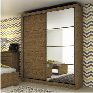 Guarda Roupa Solteiro com Espelho 2 Portas Platinium Tcil Móveis Imbuia Rustic
