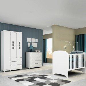 Quarto de Bebê Completo com Guarda Roupa 3 Portas, Berço e Cômoda Sonic Tcil Móveis Branco / Branco
