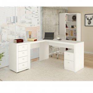 Mesa Para Escritório, 2 Gavetas, Me4129 Tecno Mobili Branco