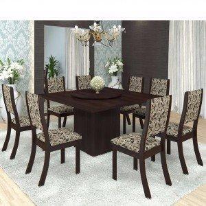 Conjunto para Sala de Jantar Mesa e 8 Cadeiras Viero Lara Choco/Medina