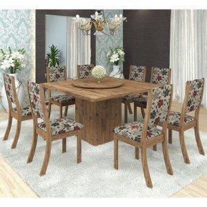 Conjunto para Sala de Jantar Mesa e 8 Cadeiras Viero Lara Avelã/Passion