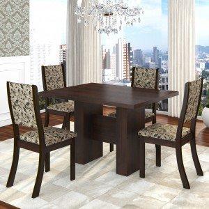 Conjunto Sala de Jantar Mesa Kaly e 4 Cadeiras Kiara Twist Siena Móveis Choco/Medina