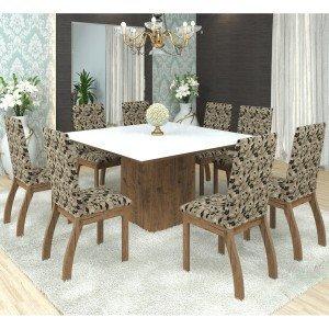 Conjunto Sala de Jantar Mesa Nesty e 8 Cadeiras Slin Lupy Siena Móveis Avelã/Medina