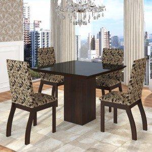 Conjunto Sala de Jantar Mesa em Vidro 4 Cadeiras Boly Siena Móveis Choco/Medina