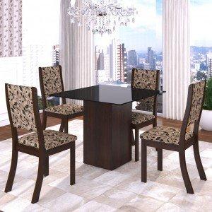 Conjunto Sala de Jantar Mesa em Vidro 4 Cadeiras Filty Siena Móveis Choco/Medina