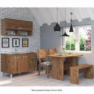 Cozinha Compacta com Mesa, 2 Cadeiras e 1 Banco Requinte Viero (Balcão não acompanha Tampo e Pia) Grigio/Amora