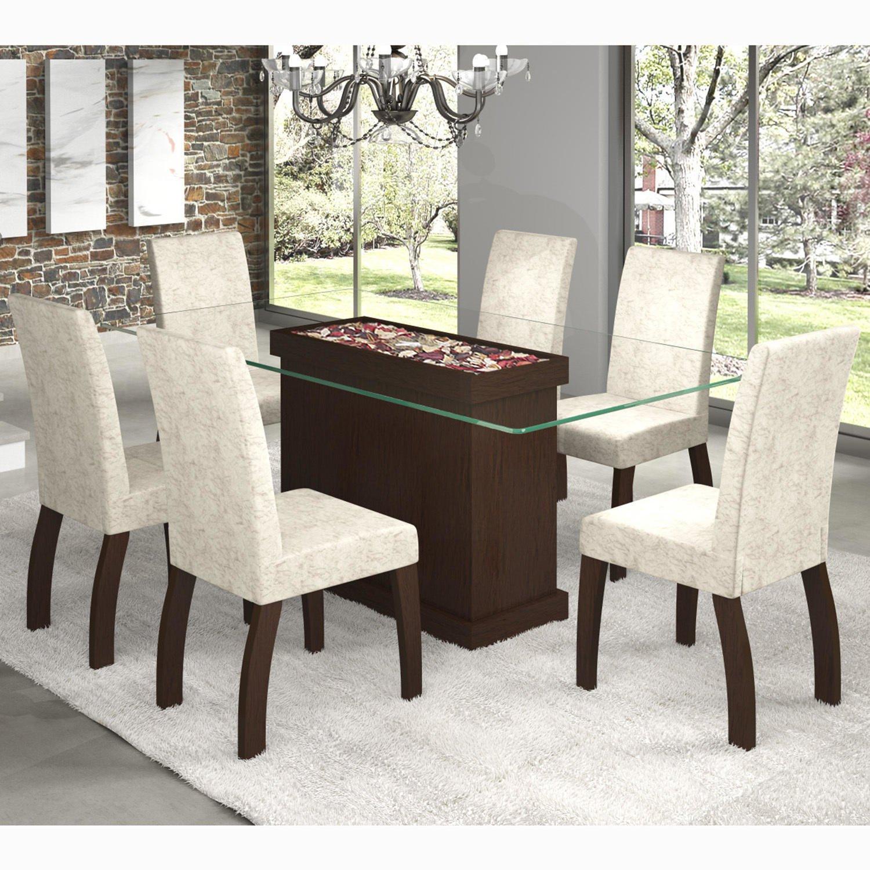 Conjunto para Sala de Jantar Mesa e 6 Cadeiras Viero Vegas Choco/Soft #498164 1500x1500