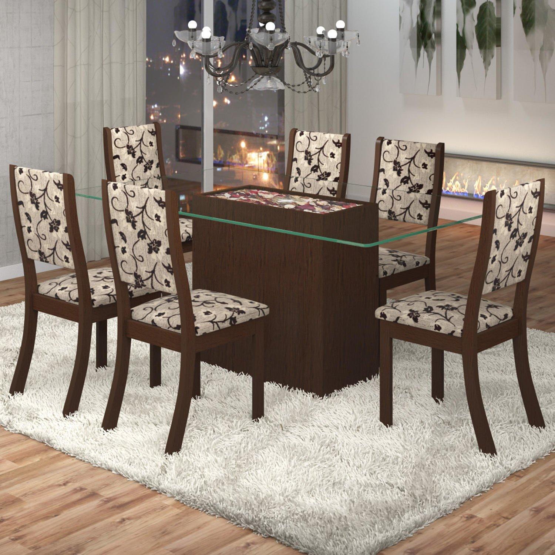 Conjunto Sala De Jantar Mesa Lina 6 Cadeiras Kiara Viero R$ 699 90  #477D62 1500x1500