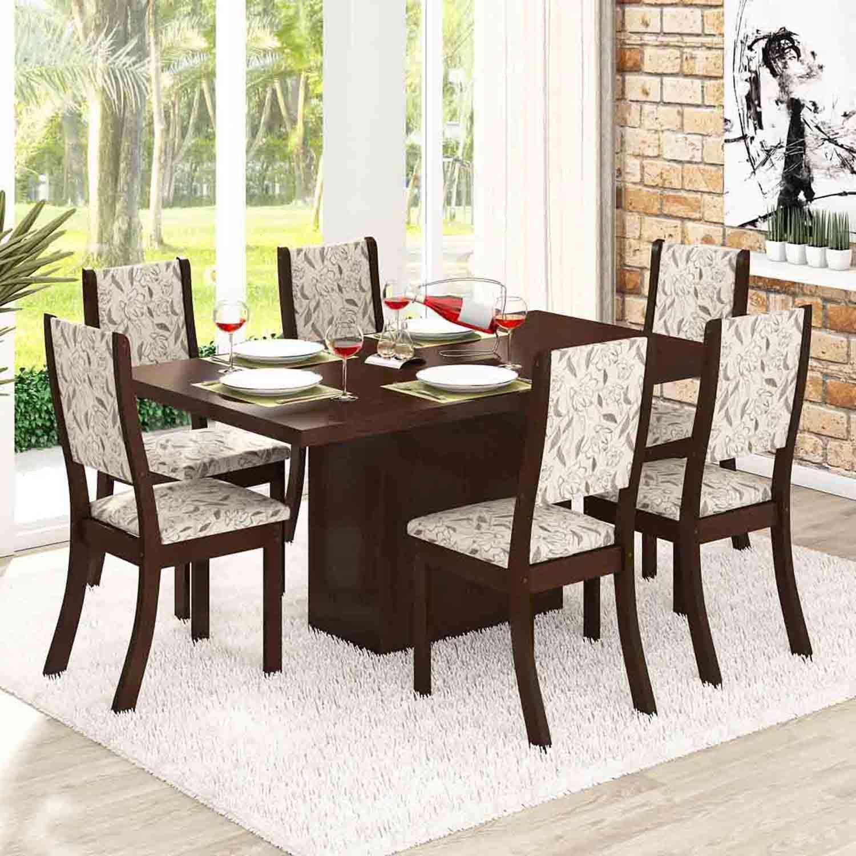 Conjunto para Sala de Jantar Mesa e 6 Cadeiras Viero Dulce Choco  #925F39 1500x1500