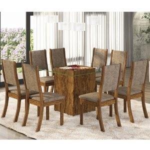 Conjunto para Sala de Jantar Mesa e 8 Cadeiras Amora Siena Móveis Avelã/Canela