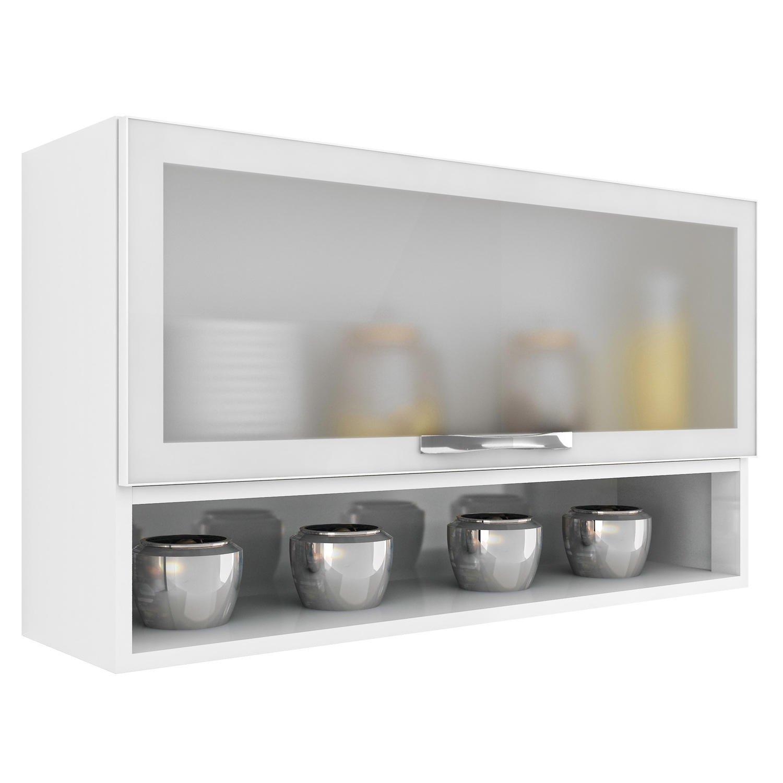Armário de Cozinha Aéreo em Aço Casa Mob 1 Porta de Vidro e Nicho  #786D54 1500x1500