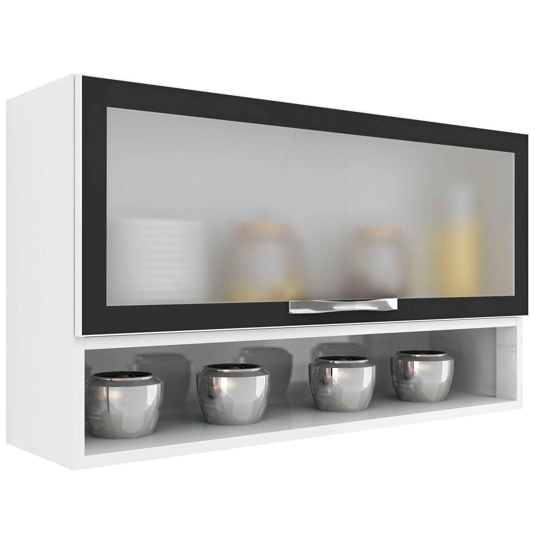 Armário De Cozinha Aéreo Em Aço Casa Mob 1 Porta De Vidro R$ 227  #796E52 1500 1500