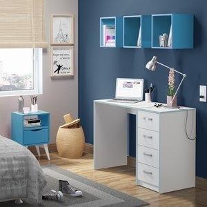 Conjunto Home Office Mash Madesa Branco / Azul