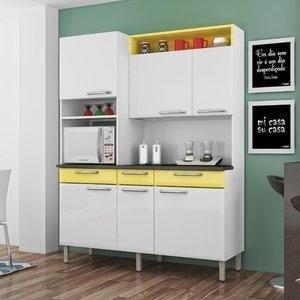 Armário para Cozinha com 1 Porta de Vidro Regina Itatiaia I3VG3-155 Branco/Amarelo Claro