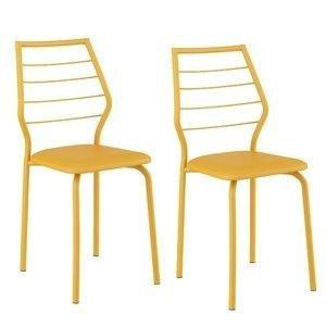 Conjunto 2 Cadeiras São Pedro Carraro Amarelo Ouro