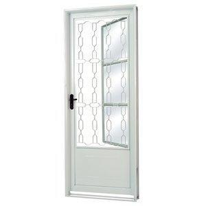 Porta de Aço com Postigo Grade Elo Vidro Liso Minas Sul MGM 217cmx85cm Branco