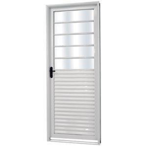Porta de Aço com Vidro Mini Boreal Minas Sul MGM 217cmx85cm Branco
