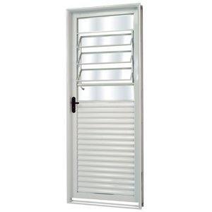 Porta de Aço com Basculante Vidro Mini Boreal Minas Sul MGM 217cmx85cm Branco