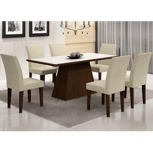 Conjunto Sala de Jantar Mesa Tampo Vidro/MDF Branco Luna 6 Cadeiras Grécia Rufato Castor/ Metelassê