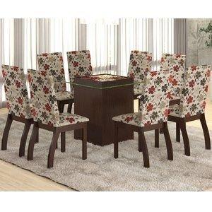 Conjunto para Sala de Jantar Mesa e 8 Cadeiras Ale Viero Choco/Passion